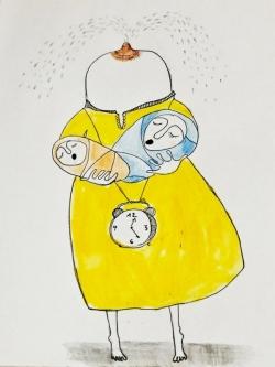 A midnight portrait of a breastfeeding mum