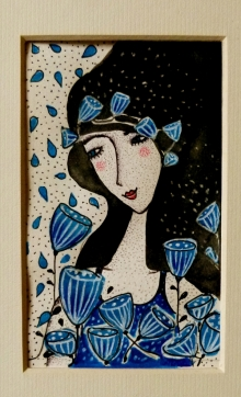 Дамата със сините цветя